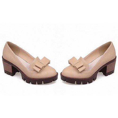 VogueZone009 Femme Couleur Unie Pu Cuir à Talon Correct Rond Tire Chaussures Légeres Beige