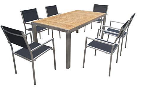 OUTFLEXX Esstischgarnitur, Silber/schwarz, Edelstahl & Teak (FSC), Esstisch 180 x 90 cm, 6 Stapelsessel, Gartenmöbel-Set -