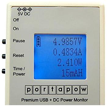 PortaPow - Premium Multimètre USB + DC Chargeur Testeur/Voltmètre/Ampèremètre