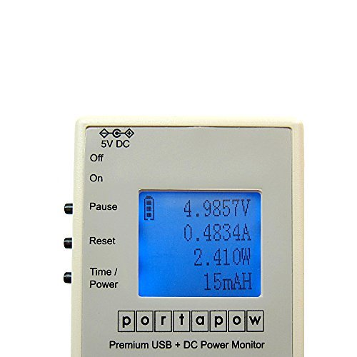 Preisvergleich Produktbild PortaPow Premium USB + DC Power Monitor Leistungsmesser / Leistungsmessgerät Digital Multimeter Amperemeter V2