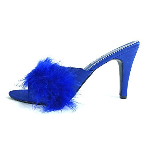 Michelex Bleu Royal Talon Haut Satin Pantoufles moelleuses