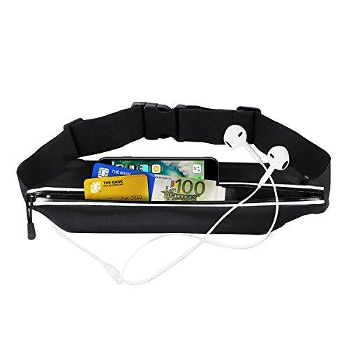 Sport Hüfttasche, Flycool Laufgürtel elastische Gürteltasche Bauchtasche Running Belt mit Kopfhöreranlass für Handy und Reflexstreifen für Nachtsichtbarkeit