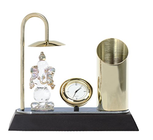 Ganesh Ji Crystal Showpiece Figurine With Umbrella, Classic Table Clock & Stylish Pen Stand - Brass & Stainless Steel Spiritual Decor Item In Gold & Silver Plating - Corporate & Diwali Gift (Model 188)