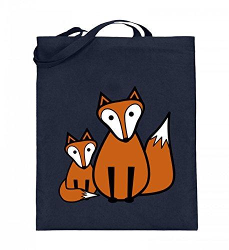 Hochwertiger Jutebeutel (mit langen Henkeln) - Jutebeutel Fuchs Deep Blue