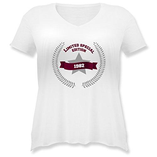 Geburtstag - 1982 Limited Special Edition - Weit geschnittenes Damen Shirt in großen Größen mit V-Ausschnitt Weiß