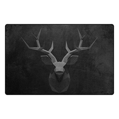 Bennigiry Retro Deer Head Bereich Teppich Teppich Rutschfeste Eintrag Bodenmatte Fußmatten für Wohnzimmer Schlafzimmer 78,7 x 50,8 cm (Deer Wolldecke)