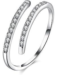 LUOEM S925 Anillos de plata esterlina Anillo de apertura ajustable de diamante brillante Anillo de compromiso
