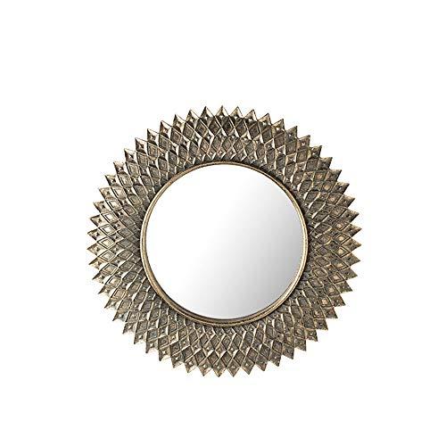 QJJML Espejo Compacto Retro, Redondo Dorado, Espejo para Colgar En La Pared, Espejo Decorativo Vintage...