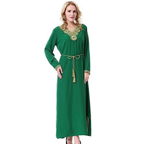 Yalatan Saudi Arabia Pattern Ladies Bright Colors Long Sleeve Solid Color Dress for Muslims Green