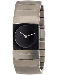 Jacob Jensen 580 - Reloj de mujer de cuarzo, correa de titanio color plata