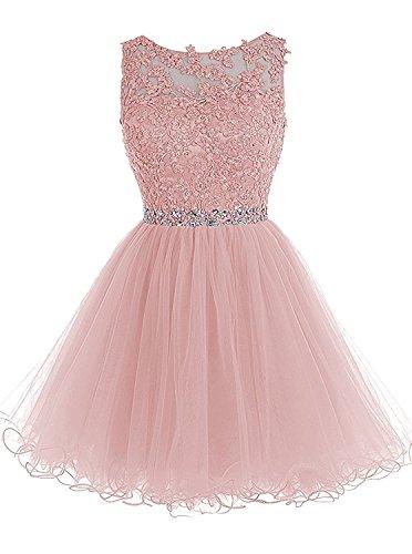Sweetylife Abschlusskleider Kurz A linie Abendkleider Ballkleider Party Kleid N002 Altrosa 32