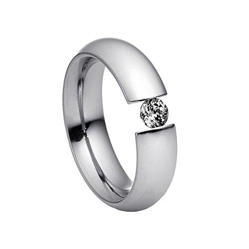 3-stein Diamant-ring Schwarze (Heideman Damen-Ring intensio poliert Gr.68 Swarovski zirconia schwarz 4 mm Ringe mit Stein Zirkonia Diamant Edelstahl Größe 68 (21.6) hr2002-3-10-68)