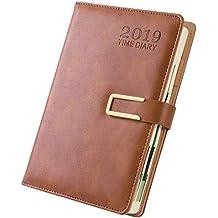 2019 A5 Kreativer Planer Tagebuch PU Leder Notizbuch Terminplaner Buch Büro oder Studenten 21.8x15cm braun