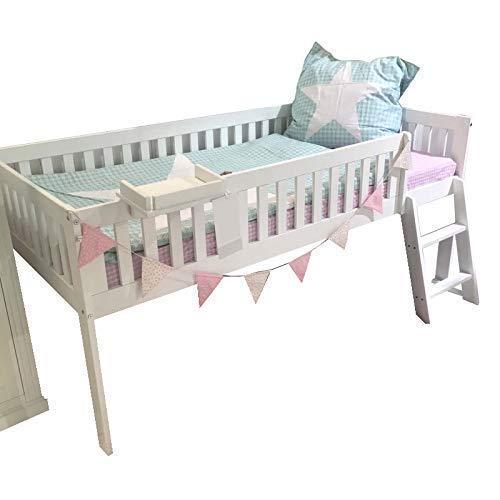 Mini Hochbett CHALET Marken Hochbett, hochwertige Qualität Holz Bett, Massiv Vollholz Kinderbett, Kleines Hochbett für Kinder, Kinderzimmer Bett, schräge Leiter, Minihochbett weiss #14496