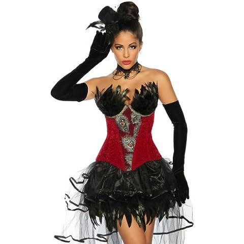 Burlesque de Corpiño Rojo con brocado de borten y plumas Lencería Top Ropa Estimulante