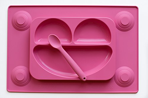 easymat-kids-placemat-divided-suction-plate-in-one-with-spoon-no-mess-toddler-baby-happy-face-feedin