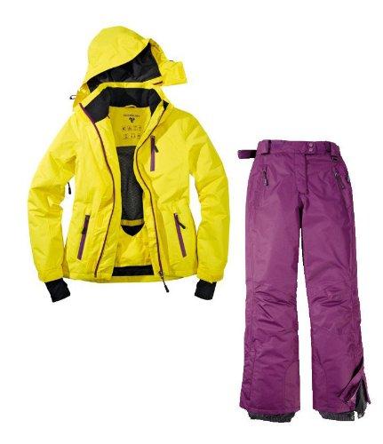 Skianzug 2tlg. Funktioneller Skianzug Für Damen Gr. 40 M-4 Farbe. Gelb-Violett Schneeanzug Thinsulate Skijacke