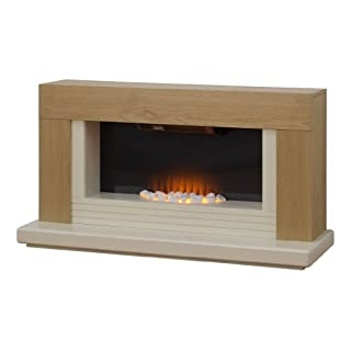 Adam Carrera Oak and Ivory Electric Fireplace Suite, 2000 Watt