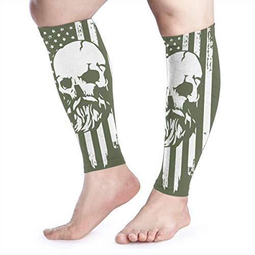 Wadenkompressionshülse Flagge der USA und bärtiges Schädel-Kalb-Schienbein stützt Bein-Kompressionssocken - Männer Frauen -