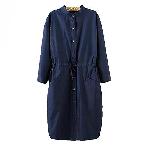GS~LY Coats / women's loose leisure wild big yards coat large plate / sleeve / Tencel coat / long , blue , xl