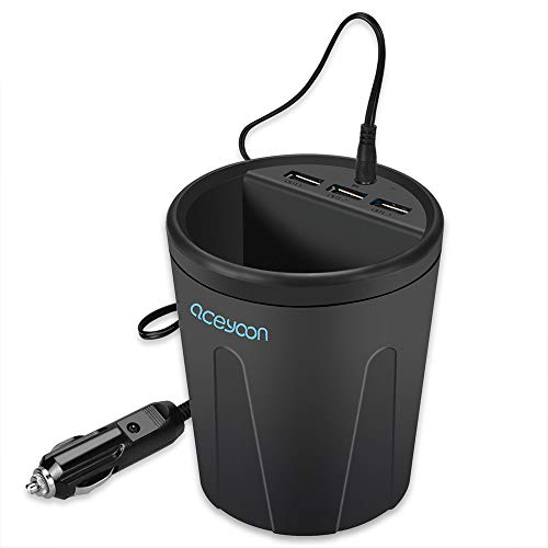 aceyoon Caricabatterie Quick Charge 3.0 3 Porte USB Cup Charger DC 12V / 36W Cup Holder Universale Fast Charging Compatibile per HTC Galaxy
