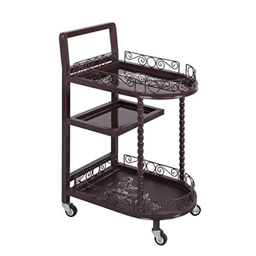 gdfgfdgfds Taste Of Home 3-Shelf Rollwagen Metal Utility Cart Mit Griffen | Beauty Salon Tool Car | Voll Gehärtetes Glas Regal -