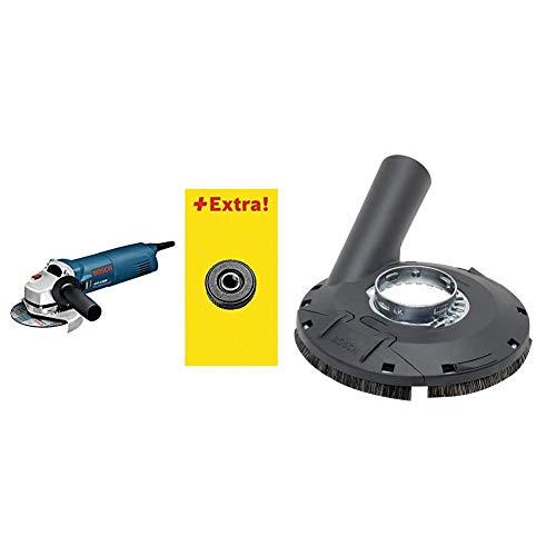 Bosch GWS 1100 Winkelschleifer mit SDS Click im Karton, 0601822400 + Bosch Professional Absaughaube (mit Bürstenkranz, Farbe, Lacke, Kunststoff (GFK), Holz, für Winkelschleifer)