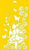 30cm x 17,5cm Flexibel Kunststoff Universal Schablone - Textil Kuchen Wand Airbrush Möbel Dekor Dekorative Muster Torte Design Technisches Zeichnen Zeichenschablone Wandschablone Kuchenschablone - Märchen Schmetterlinge Schmetterling Blätter Elfen Herz