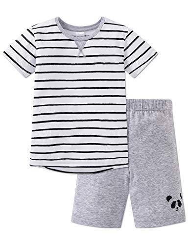 Schiesser Jungen Relax Anzug kurz Zweiteiliger Schlafanzug, (Weiss 100), (Herstellergröße: 104)