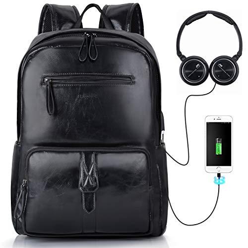 Rucksack Herren, Bageek Laptop Rucksack 15,6 Zoll PU Leder Rucksack Männer mit USB-Schnittstelle Daypack Herren Rucksack Schwarz Wasserdicht