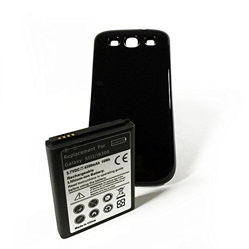 SMARTEX | Neue Ersatzakku mit verbesserte Kapazität 4300 mAh + Schwarz Rückseite Schutzhülle Smartex Marke kompatibel mit Galaxy S3 i9300