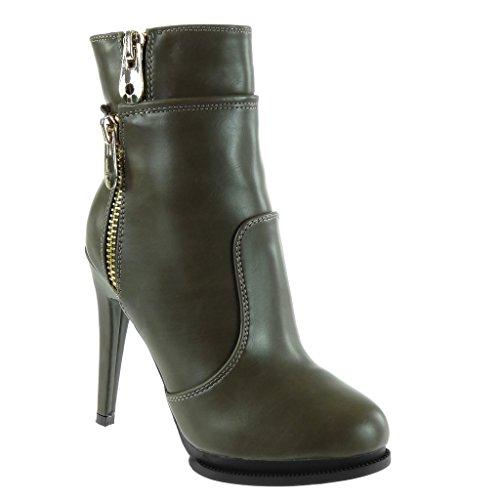 Angkorly Damen Schuhe Stiefeletten - Stiletto - Sexy - Plateauschuhe - Reißverschluss - Golden Stiletto High Heel 12 cm Grüne