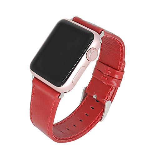 Ist Kompatibel Mit Apple Watch 1/2/3/4 Generation Uhren, Retro Crazy Horse Pattern Iwatch Band,Red,38mm/40mm ()