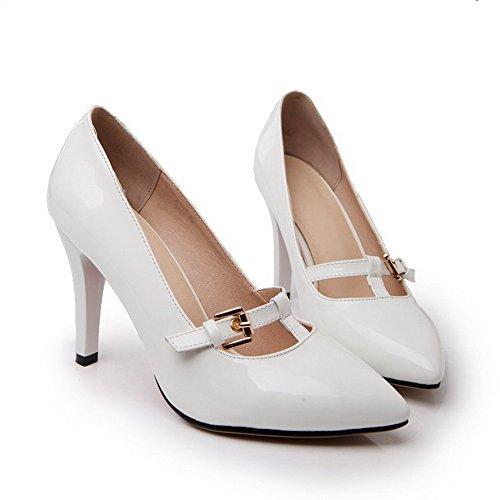 VogueZone009 Damen Ziehen Auf Spitz Zehe Stiletto Lackleder Rein Pumps Schuhe Weiß