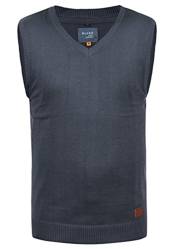 Blend Larsson Herren Pullunder Strickweste Feinstrick Mit V-Ausschnitt, Größe:XL, Farbe:Navy (70230)