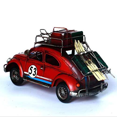 ZXWDIAN Automodell Spielzeugauto Handgemachte alte retro schmiedeeiserne käfer modell hause weiche dekoration dekorative geburtstagsgeschenk rot 37X15X14 cm Autos Fahrzeuge Spielzeug (Vintage Motorrad-reifen 18)