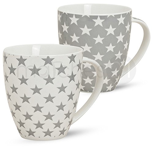 matches21 Große Jumbo Kaffeebecher Tassen Becher Stern grau weiß 2er Set aus Porzellan gefertigt, je 12 cm hoch / 600 ml (Große Tassen)