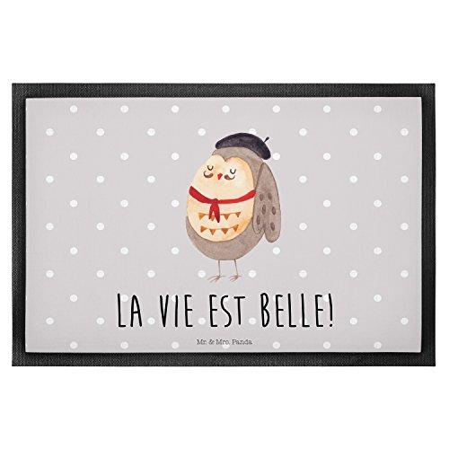 Mr. & Mrs. Panda Schmutzfangmatte, Türvorleger, 40 x 60 Fußmatte Eule Französisch mit Spruch - Farbe Grau Pastell