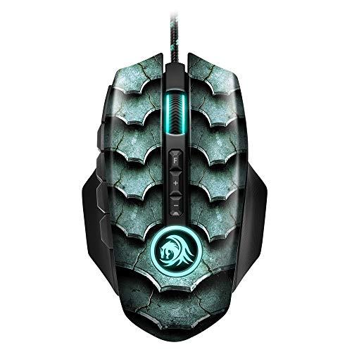 Sharkoon Drakonia II Gaming Maus, optischer Sensor PixArt 3360, 15.000 DPI, 12 programmierbare Tasten, grün