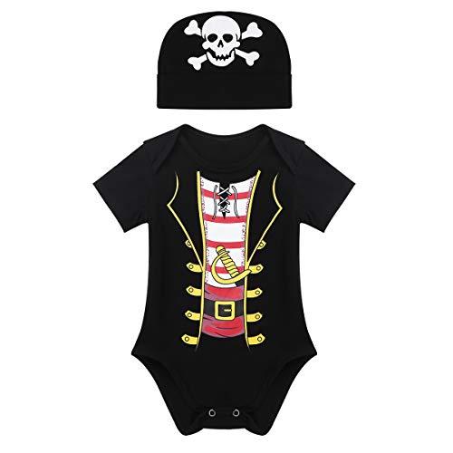 CHICTRY Baby Kleidung Jungen Strampler Neugeborenen Spielanzug+ Mütze Pirat Outfit Piratenparty Fotoshooting Halloween Karneval Fasching Kostüm Schwarz 86-92/18-24 ()