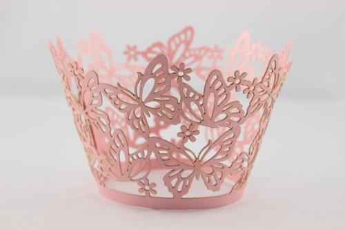 """Elfenstall Cupcake / Muffin Papierförmchen - Zierumrandung - Dekorand """" Schmetterlinge / Butterfly """" 12 Stück für Hochzeiten Partys oder Feste (rosa)"""