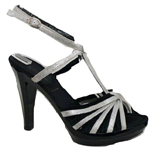 Miss Sixty, Sandali donna Nero Black & Silver 36 (4 UK)