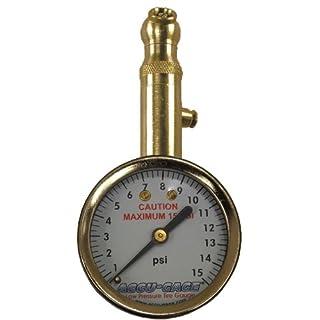 Accu-Gage S15X A (3–15psi) Schwenkwinkel Chuck Zifferblatt Reifen Manometer mit Entlüftungsventil