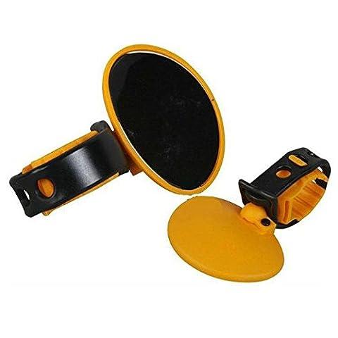 Lugii Cube Vélo Rétroviseur de vélo Bar End Dos Miroir universel réglable 360degrés de rotation arrière incassable convexe Rétroviseur miroir rond Vélo Clip pour vélo de Rode, jaune