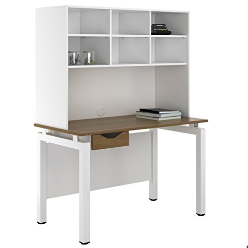 UCLIC Kit Out My Office Bench Desk Cupboard with Single Drawer and Open Upper Storage, Metal, Walnut, 1200 mm