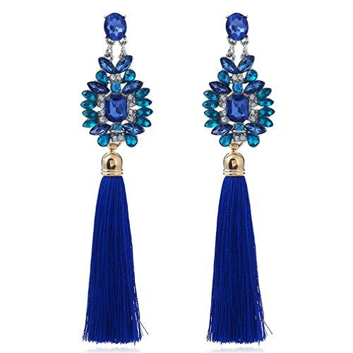 YAZILIND Lange Quaste Ohrringe Elegantes Mädchen Übertrieben Ohr Ringe Dame Schmuck für Frauen Mädchen Hochzeit (Blau)