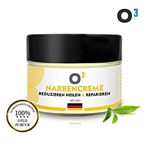 O³ Narbencreme – Narbensalbe // Stretch Marks Cream – Dehnungsstreifen Creme für Frauen nach Schwangerschaft – Aknenarben Hochwirksam – Scar Cream 100% natürlich