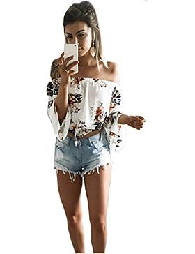 Longwu Moda de las mujeres fuera del hombro Floral Printed blusa camisa de manga larga Casual Tops