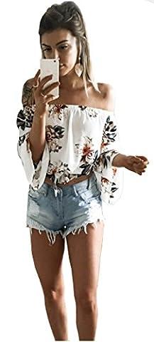 Longwu Fashion Women's Off Shoulder Floral imprimé blouse chemise manches longues Casual Tops Blanc-L
