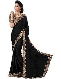 Bhavna Creation Women's Georgette Saree With Blouse Piece (Black_Jumkha,Black,Free Size)